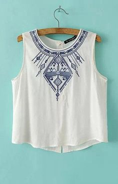 Blue Embroidery Tank Top