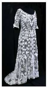 Irish crochet lace gown, circa 1905.