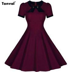Tonval Women Vintage Summer Dress Rockabilly Elegant 1950s Casual Dress Vestidos Evening Party Bow Swing Dresses