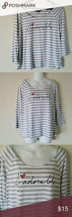 Peter Som for Design Nation knit top size XL Peter Som for Design Nation knit top size x-large. In gray and white stripes with j'adorable written across chest. Soft and comfy. 3/4 sleeves. Round, low neckline. Peter Som Tops