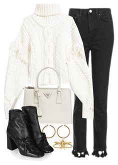 """""""Untitled #11279"""" by minimalmanhattan ❤ liked on Polyvore featuring Topshop, Prada, Vince Camuto and Jennifer Behr"""