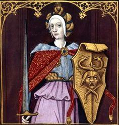 VI-Minerve (MINERVA) -- Giovanni Boccaccio (1313-1375), Le Livre des cleres et nobles femmes, v. 1488-1496, Cognac (France), traducteur anonyme. -- Illustrations painted by Robinet Testard -- BnF Français 599 fol. 9 -- See also at: http://expositions.bnf.fr/rouge/bande/grand/51.htm