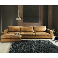 Eckcouch aus Leder hell braun teppich (Furniture Designs Sofa)