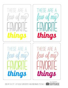 My Sister's Suitcase: My Favorite Things: Gift Idea + Printable
