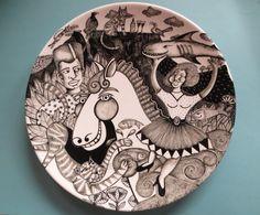 """Skrik Vir Niks "" ( not afraid of anything ) Part of ""story plate"" series. Original designs by Tiffany Wallace Ceramics SA 2016"