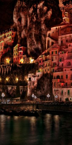 The town of Amalfi at night, Italy. Europe Travel.