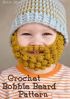 free pattern for crochet bobble beards, in 4 sizes