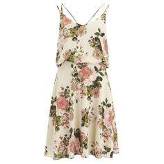 VILA Women's Flourish Spring Strap Dress - Pristine ($66) ❤ liked on Polyvore featuring dresses, vestidos, white, sundress dresses, spaghetti strap sundress, strappy sundress, loose dress and v neck dress