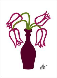JACQUELINE DITT - Tulips - outline  Original Grafik handsigniert Bilder Tulpen