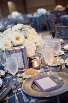Very pretty purple and gray table setting | Photography: Jeremy Harwell