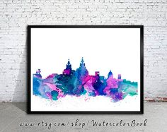 Liverpool  City Skyline Art Print Liverpool  by WatercolorBook, $15.00