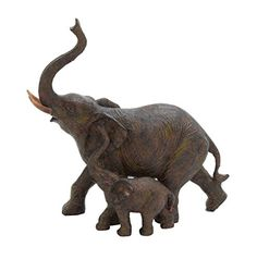Trumpeting Mother and Baby Elephant Statue Figurine African Jungle Safari Decor Mother And Baby Elephant, Happy Elephant, Elephant Art, African Elephant, Elephant Stuff, Grey Elephant, Elephant Sculpture, Lion Sculpture, African Jungle