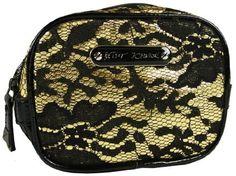 Betsey Johnson Cosmetic Square Case Royal Lace Gold Make Up Bag Betsey Johnson. $26.60
