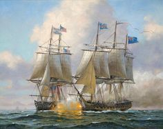 Announcing the latest commissioned painting by Geoff Hunt: USS Constitution in action with HMS Guerriere, August 1812 - for an American client. Sailboat Art, Nautical Art, Sailboats, Bateau Pirate, Old Sailing Ships, Uss Constitution, Ship Paintings, Man Of War, Naval History