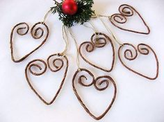 heart ornaments..no diy....but you could probably wrap twine around some wire and shape it into a heart