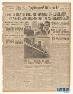 Sinking of the Lusitania: The Sunday Chronicle, 5/8/1915