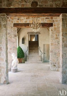 Best French Country Farmhouse Decor Inspiration & Peaceful Quotes - Hello Lovely - French country interior and French farmhouse decor inspiration: the stone entry to a Napa Valley ho - French Farmhouse Decor, French Country House, French Country Decorating, Rustic Exterior, Exterior Design, Deco Pizzeria, Gite Rural, Country Interior, Stone Houses