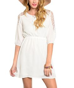 Look at this Buy in America Ivory Lace-Shoulder Blouson Dress on #zulily today!
