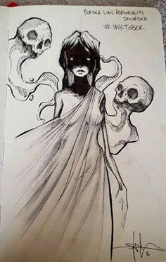 """Illustrator Shawn Coss is drawing one mental illness a day as part of """"Inktober,"""" a challenge to draw one ink-based illustration for each day in October. Art And Illustration, Art Sinistre, Illustrator, Dark Drawings, Creepy Drawings, Arte Obscura, Tatoo Art, Creepy Art, Horror Art"""