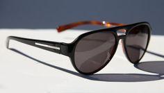 CLUB MONACO AVIATOR Sunglasses Black Tortoise Shell with Silver Accents Dark Smoke Sunglasses Men or Women