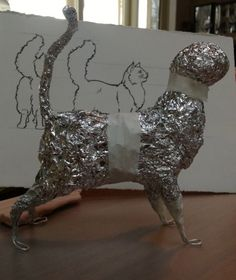 cat armature made from foil and wire; kids can bring their own foil roll