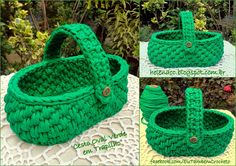 "I ALSO ... CROCHETO: Trapilho Green Cart in point ""Basket"" FREE CHART AND TUTORIAL 4/15"