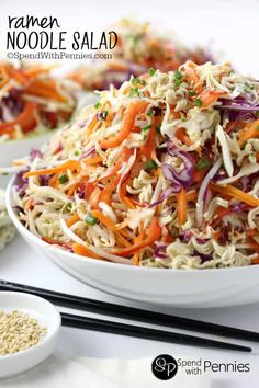Oriental Ramen Noodle Salad! Crunchy cabbage and tons of yummy veggies with ramen noodles tossed in a quick sesame dressing. This is easy to make & a great summer side and perfect for bbqs! You can use coleslaw mix to make it extra quick!