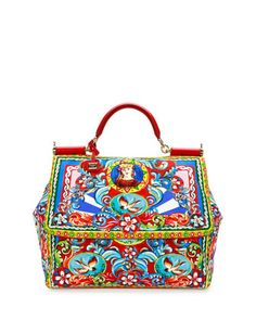 Miss Sicily Extra-Large Court Printed Satchel Bag, Multicolor by Dolce & Gabbana at Neiman Marcus.