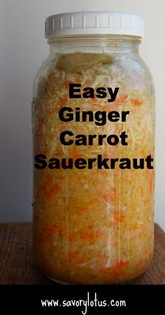 Easy Homemade Ginger Carrot Sauerkraut |  savorylotus.com #fermentedfoods #guthealth  #probiotics  @100dayswellness