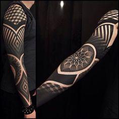 full black sleeve tattoo meaning Black Sleeve Tattoo, Geometric Sleeve Tattoo, Full Sleeve Tattoos, Leg Tattoos, Black Tattoos, Body Art Tattoos, Tribal Tattoos, Black Work Tattoo, Full Hand Tattoo