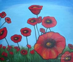 Red Poppy Print featuring the painting Poppy Feild by Vesna Antic