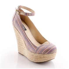 Dayna Wedge Taupe Stripe