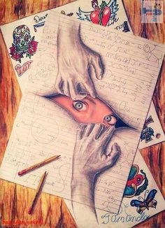 eyes peeking through and hands pulling at the page...Wow ! That's an amazing drawing !