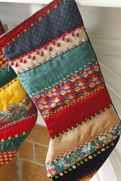 Crazy Quilt Victorian Christmas Stocking by DaphneDays on Etsy