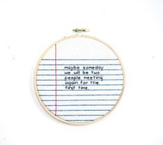 Items similar to notebook paper loose leaf wall hanging needlework cross stitch handwriting hoop gift // mother's day father's spring on Etsy Notebook Paper, Love Craft, Love Notes, Give It To Me, How To Make, Cross Stitching, Needlework, Hand Weaving, Etsy Seller