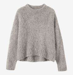 SURI ALPACA PULLOVER | Slouchy pullover in a dense, very soft and fluffy alpaca blend, with ribbed round neck and dropped shoulders.