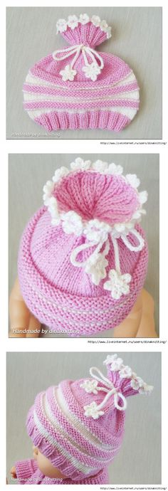 This Pin was discovered by nur - Bere Baby Hat Knitting Pattern, Knitting Machine Patterns, Baby Hat Patterns, Baby Hats Knitting, Loom Knitting, Knitted Hats, Crochet Waffle Stitch, Knit Crochet, Childrens Crochet Hats
