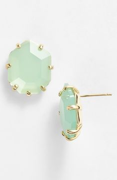 Mint and Gold Stud Earrings