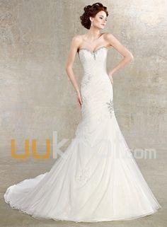 Trumpet Sweetheart Chapel Train Tulle Satin Wedding Dress - UUknot.com