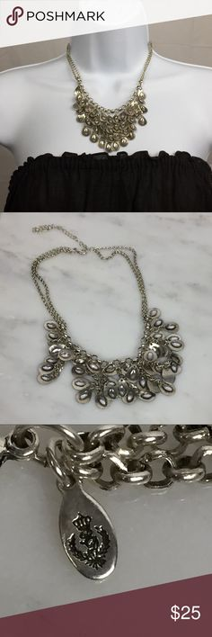 Premier Designs Bib Necklace Silver tone  Each tear drop on the bib has a diamond shaped crystal on it. Double chain and tag Lobster claw clasp and extender.  Please see pictures for measurements. Premier Designs Jewelry Necklaces