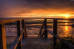 Schody, Zachód, Plaża, Morze, Słońca