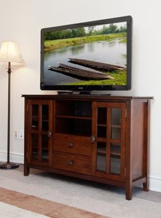 Stratford Auburn Brown Tall Tv Stand Complete Your Living Room With The Simple Elegance Of