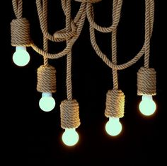 Manila rope lights 15 diameter by atelier688 on etsy scandi very long jute rope chandelier pendant light made from sailing rope nautical lamp marine style hanging light nautical rope aloadofball Choice Image