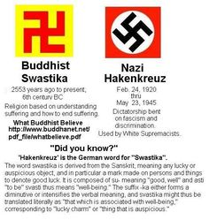 The Buddhist Swastika Vs. Nazi Hakenkreuz. Symbols are meaningful in specific contexts. Out of an intended context, the meaning may change, or a symbol may risk being misread, completely changing the meaning.