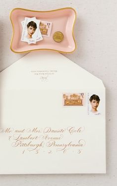 Audrey Hepburn stamps and beautiful calligraphy