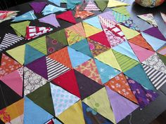 simple triangle quilt tutorial, including cutting instructions and tips on matching points