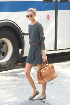 Easy chic. I like the shoes a lighter tone of olive than the dress. Simple shapes.