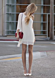 feminine, flowy one shoulder dress paired w/RED quilted chain strap bag, exquisite peep toes.. .now thats how you play dress-up♥