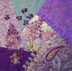 I ❤ crazy quilting & embroidery . . .  Flower Fairy DYB- My work on Marci´c block ~By Ritva Peltola
