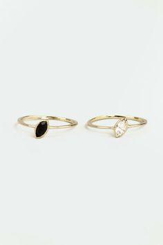 Double Beauty Gold Rhinestone Ring Set at LuLus.com!